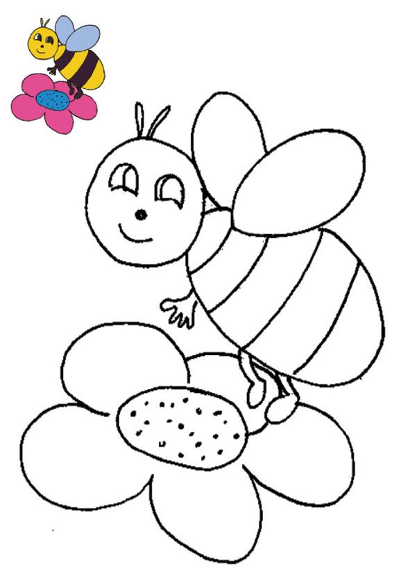 coloriage avec modèle abeille la fleur