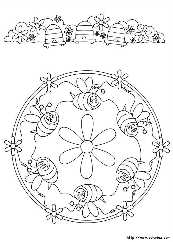 coloriage mandala d'abeilles