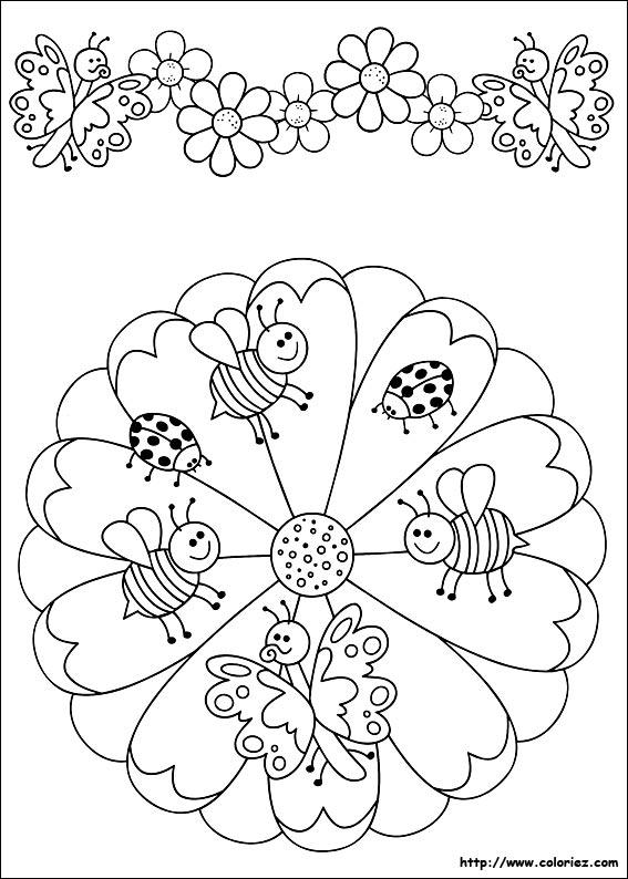 coloriage mandala et frise des petites abeilles