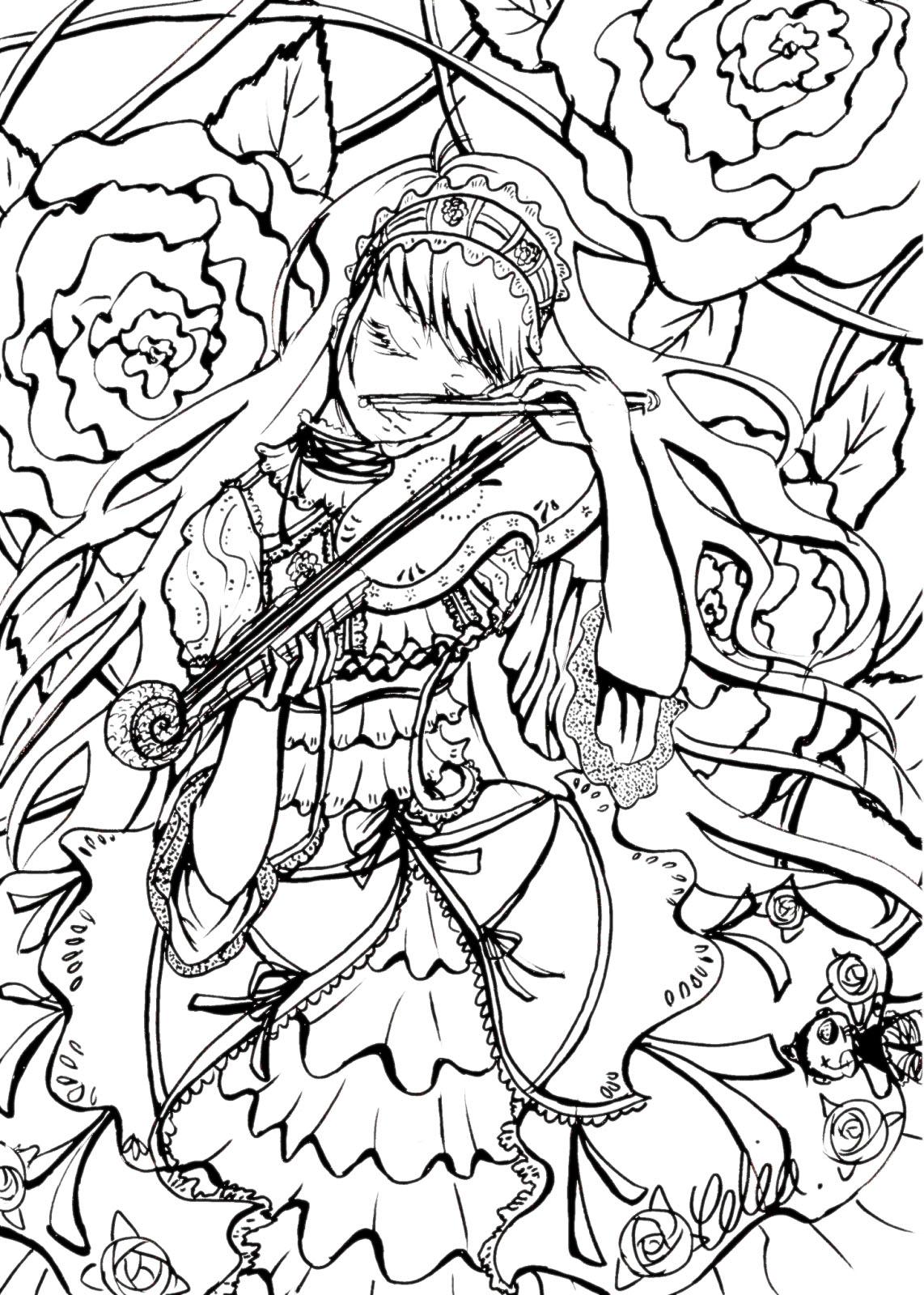 Coloriage Complexe Pour Adulte A Imprimer De Manga