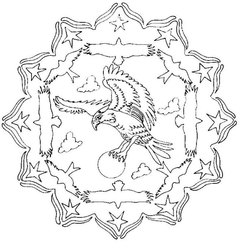 coloriage mandala aigle
