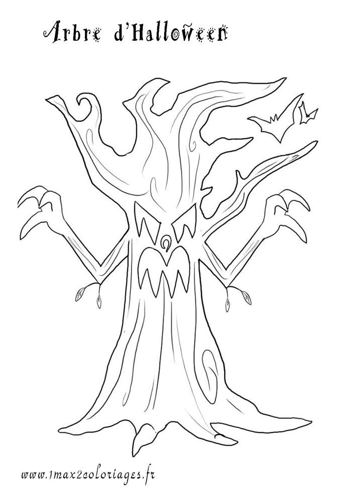 coloriages halloween un arbre d'halloween a imprimer