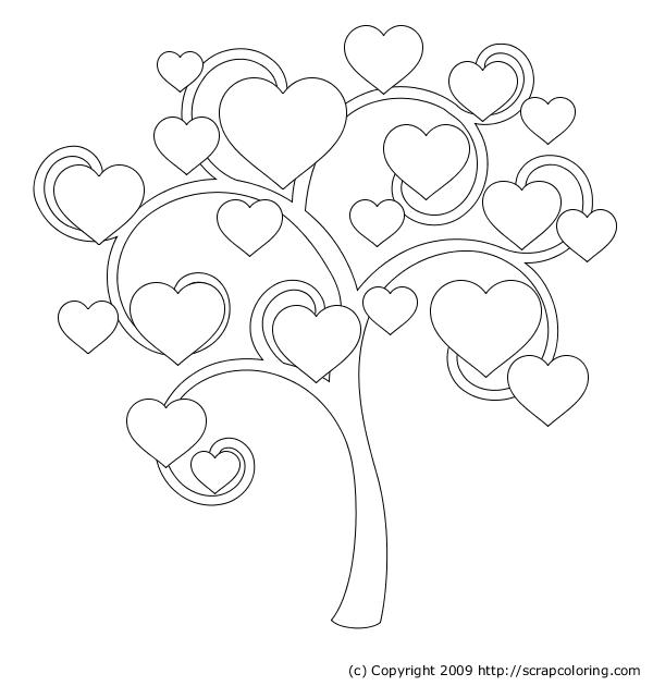 heart arbre dessin à colorier
