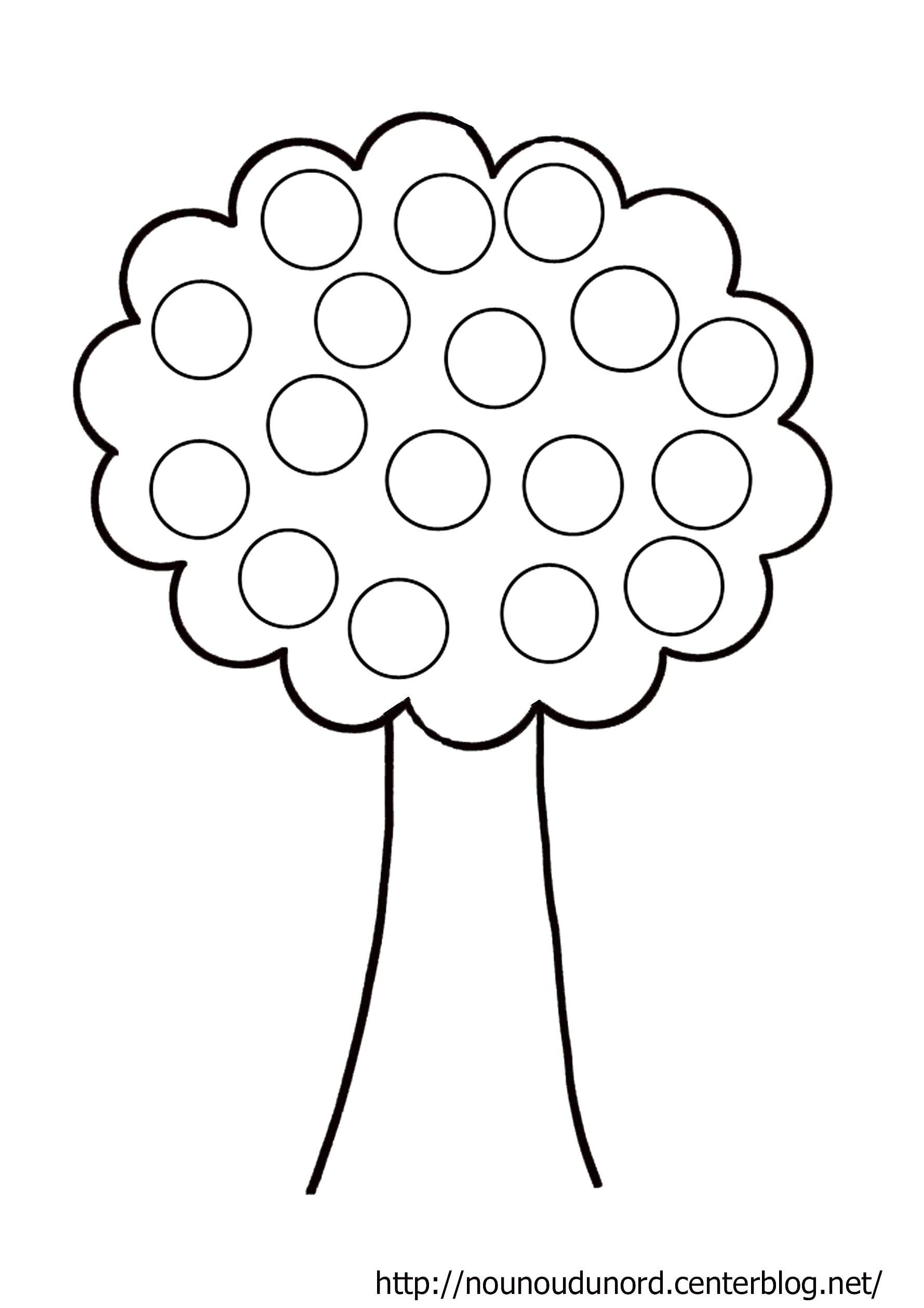 coloriage arbre à gommettes dessiné .