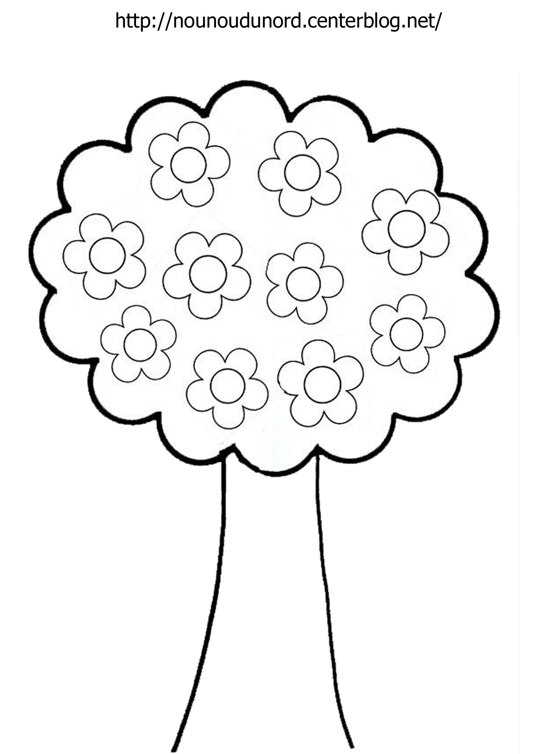 coloriage arbre fleuri dessiné