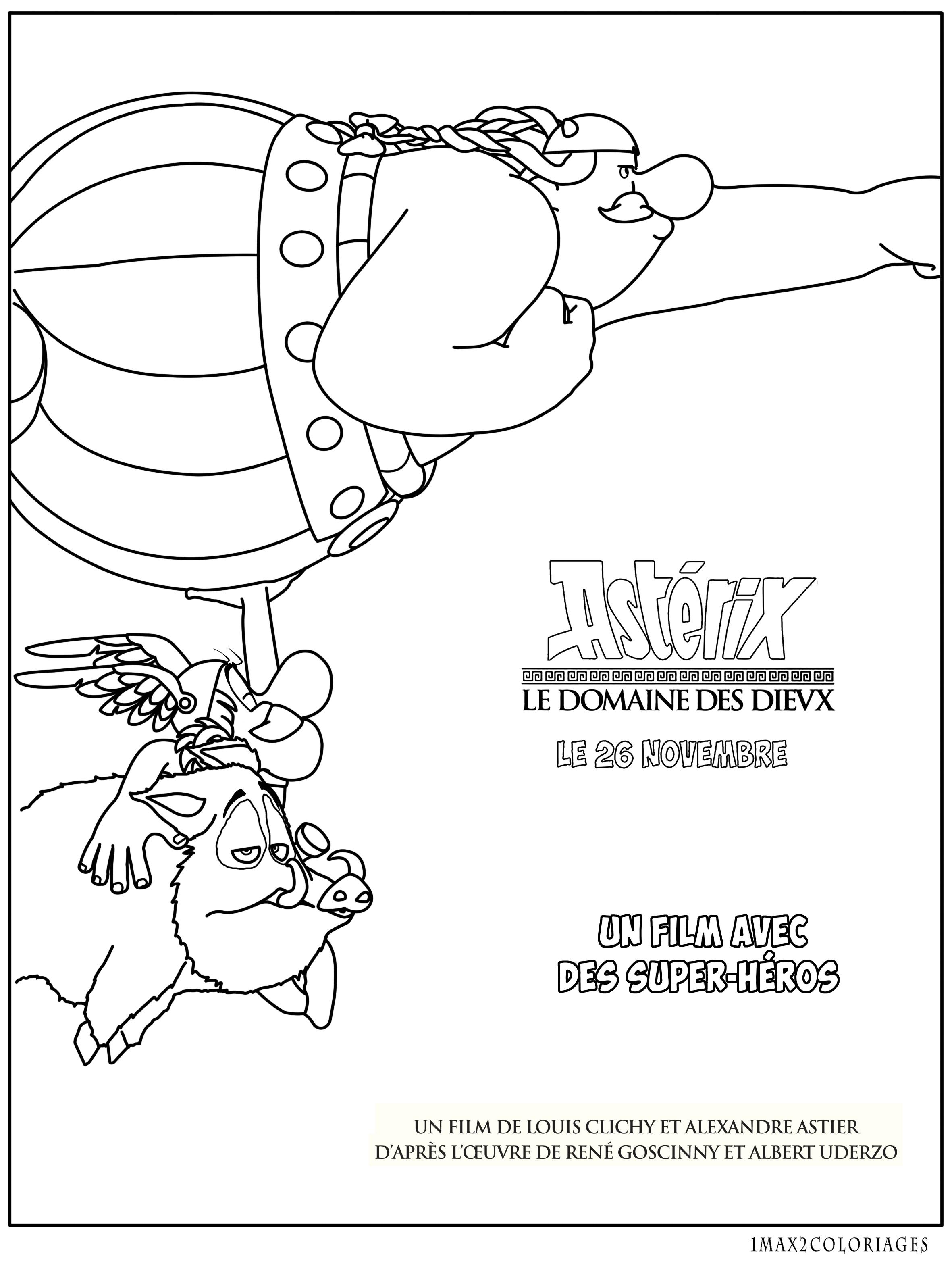 coloriage le domaine des dieux, un film avec des héros : Astérix et