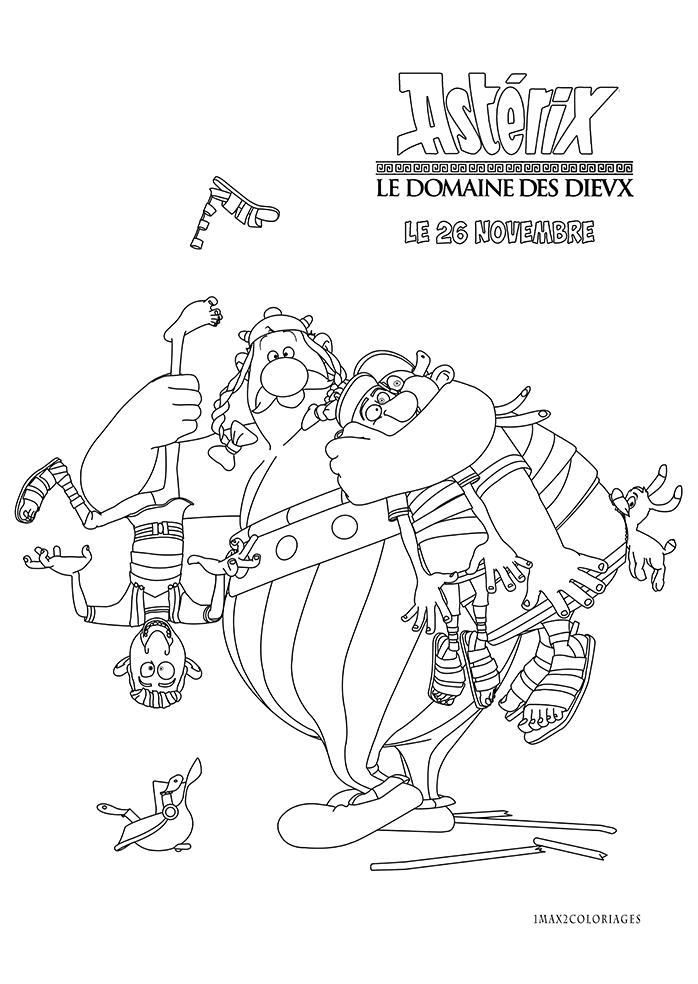 coloriage asterix et le domain des dieux: Obélix et deux romains: un