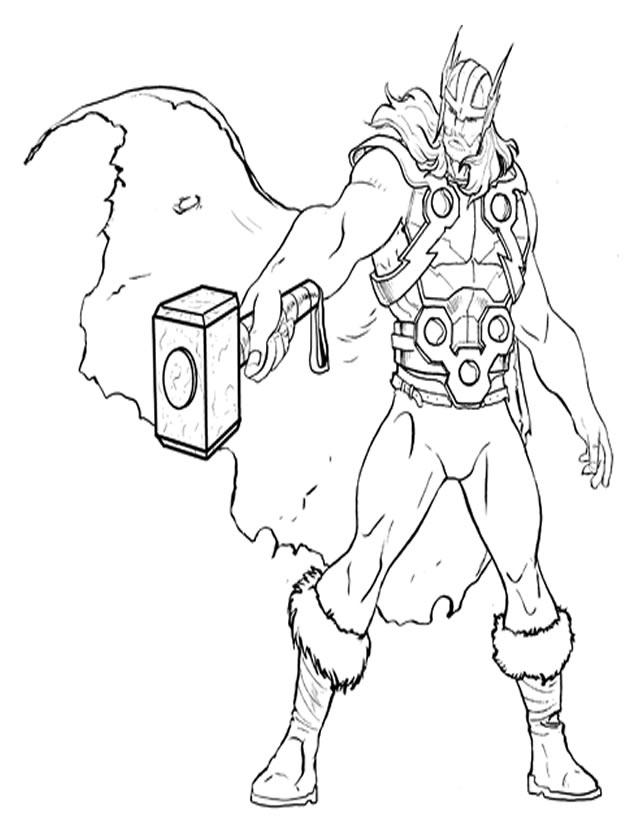 coloriage avengers tor - Dessin Avengers