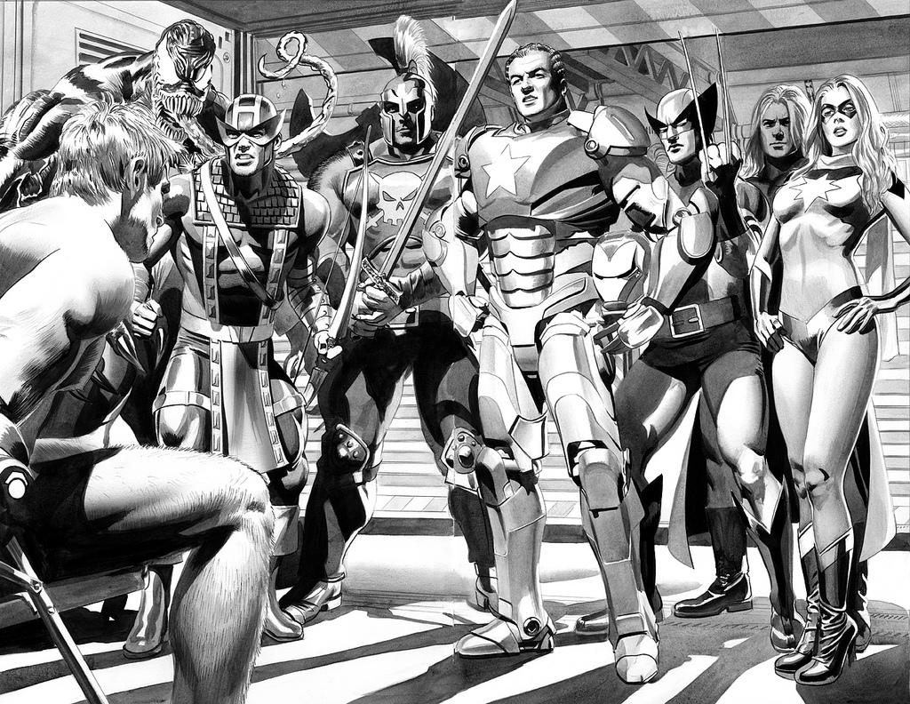 giant-size marvel: mike mayhew new avengers splash, black et white