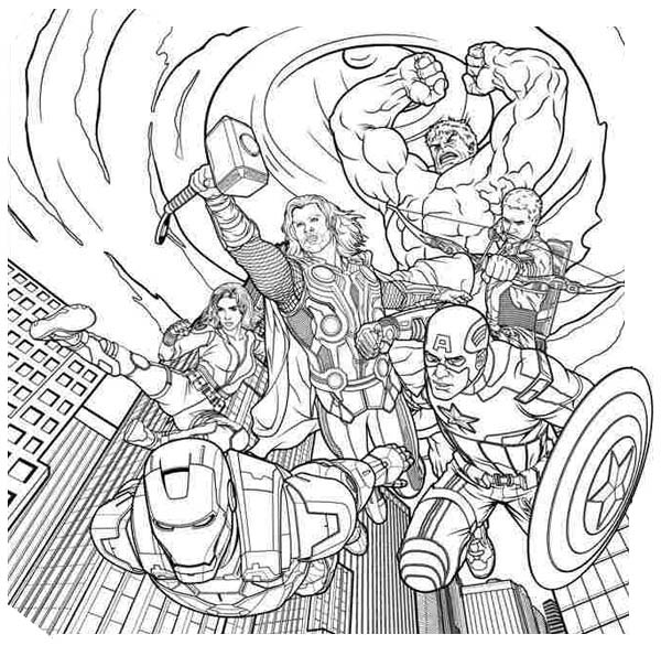 the-avengers-came-down-from-the-sky coloriage page