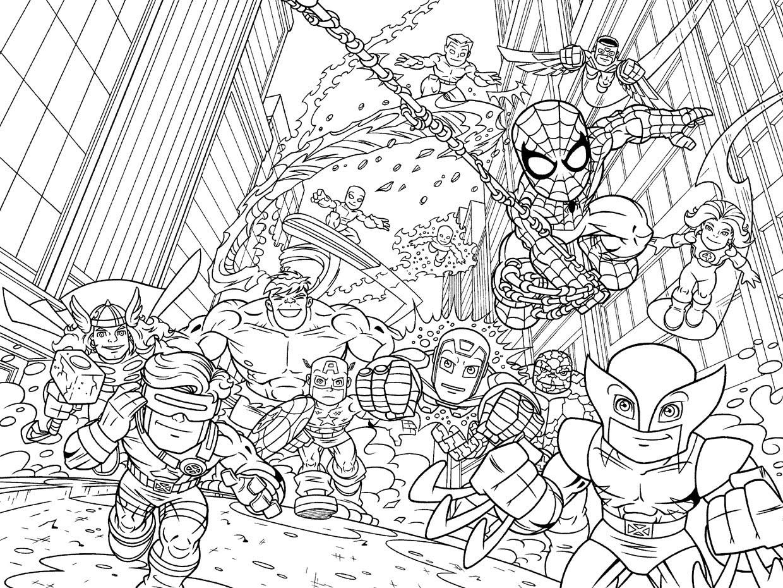 marvel superhero squad dessins à colorier superhero dessins à colorier