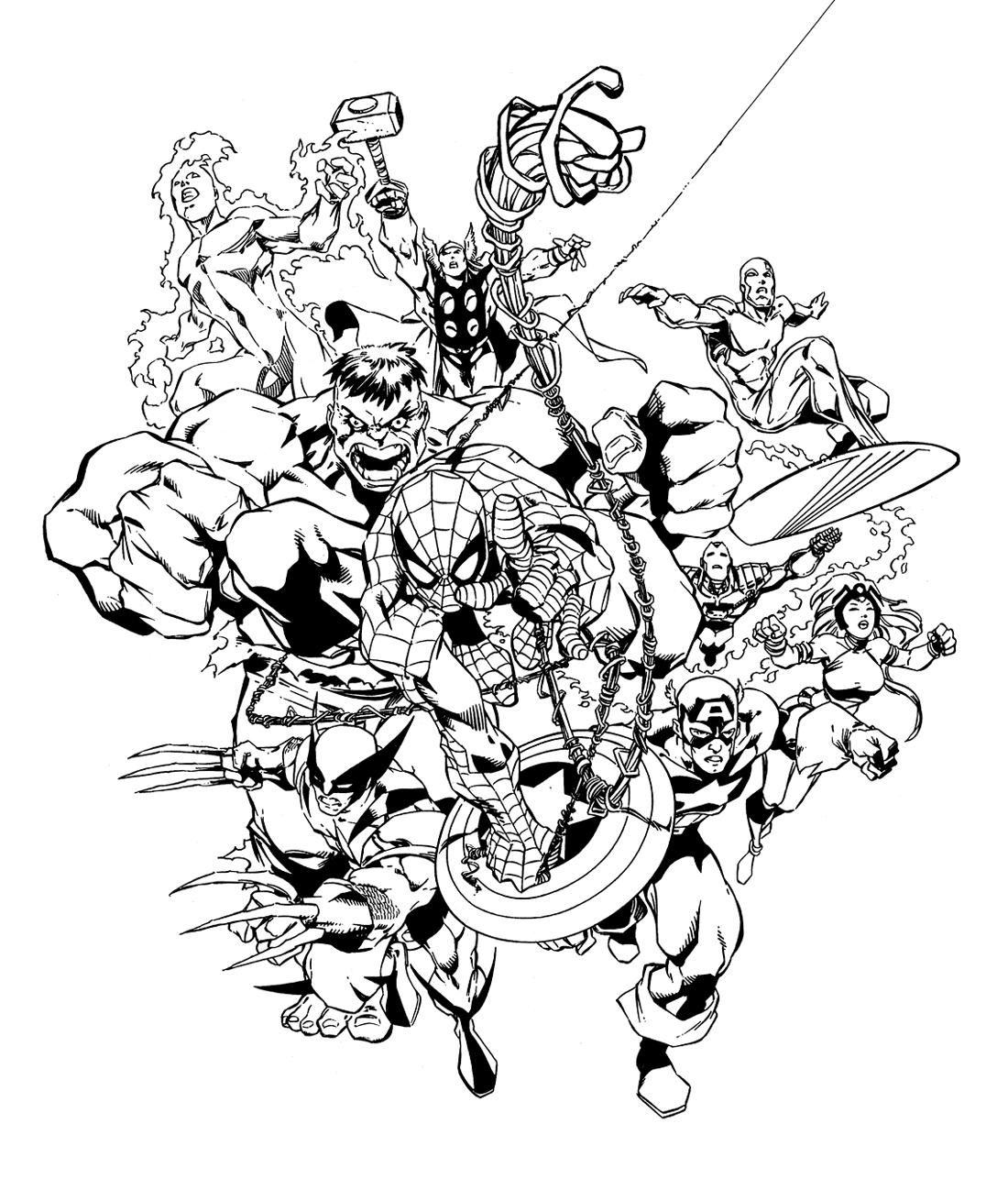 160 dessins de coloriage avengers imprimer sur laguerche for Marvel comics coloring pages
