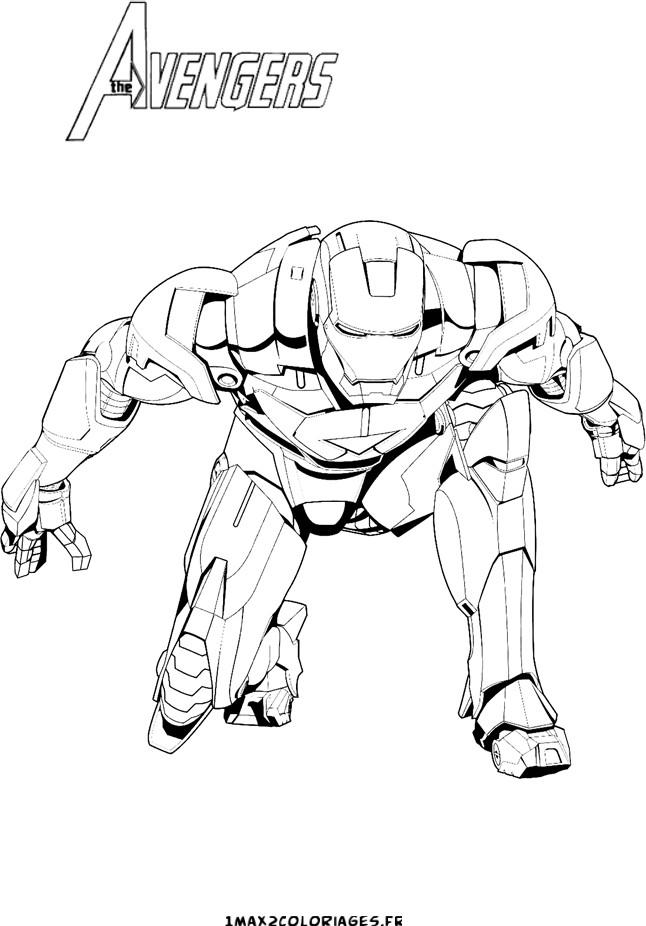 coloriage a imprimer iron man avengers gratuit et colorier
