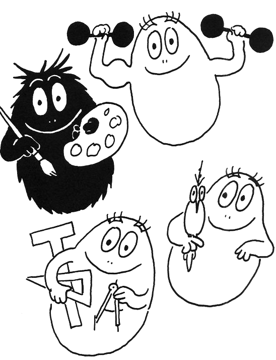 Coloriage de barbapapa a colorier