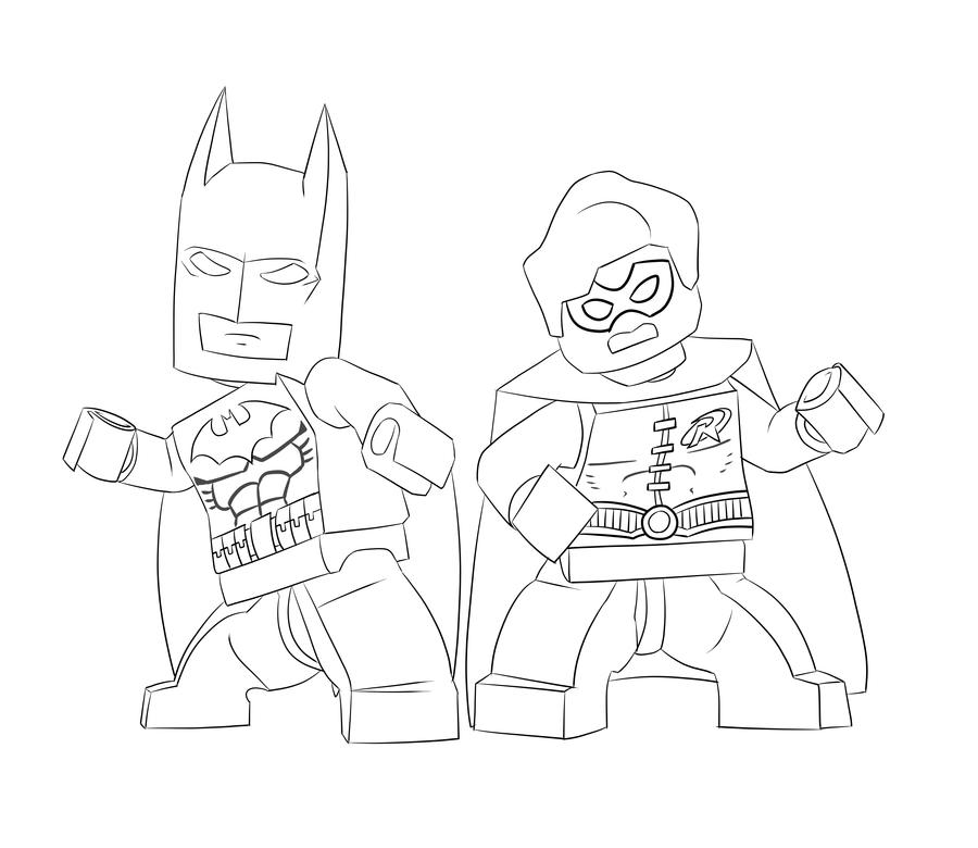 coloriage batman et robin lego
