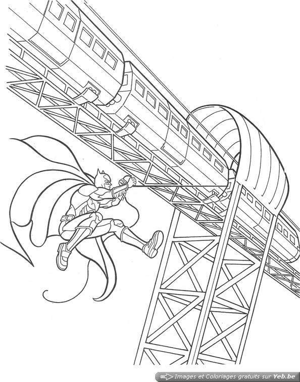 coloriage batman saute du train dans la catégorie batman yeb