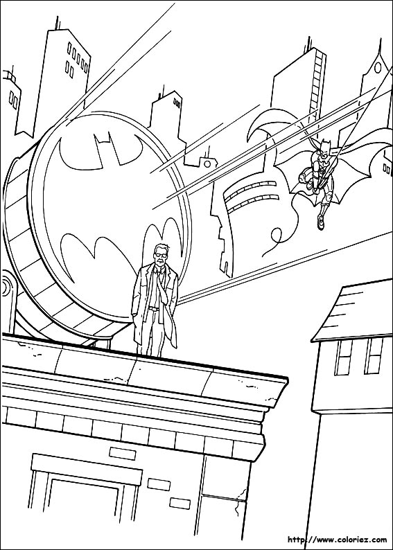coloriage batman à la poursuite des super-vilains