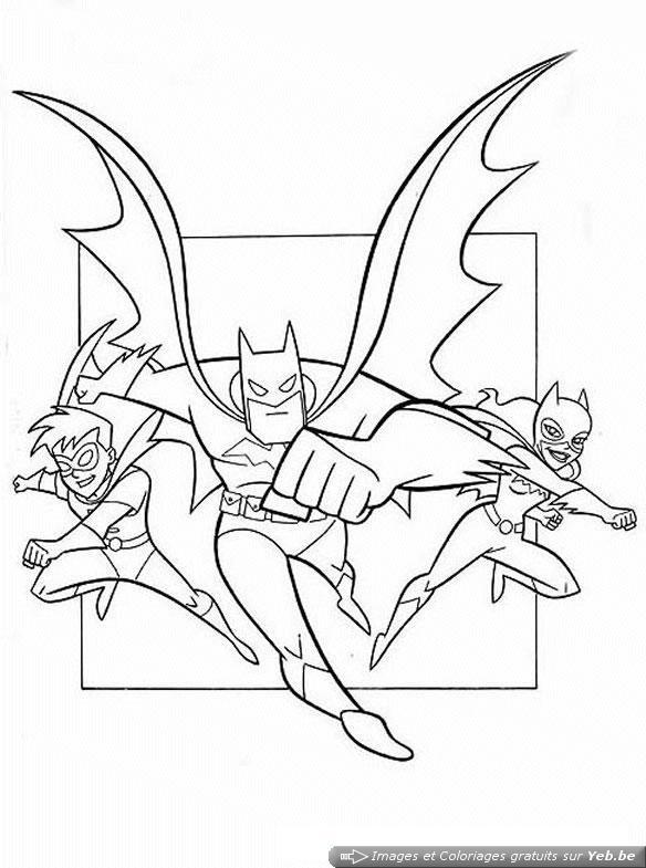 coloriage batman, robin et catwoman dans la catégorie batman