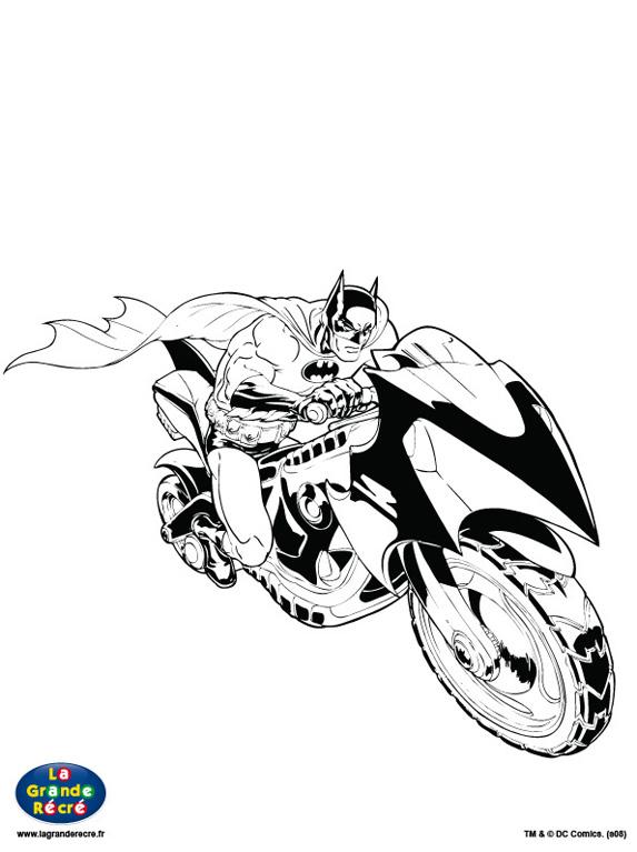 coloriages batman et sa moto tout batman - Batman Gratuit
