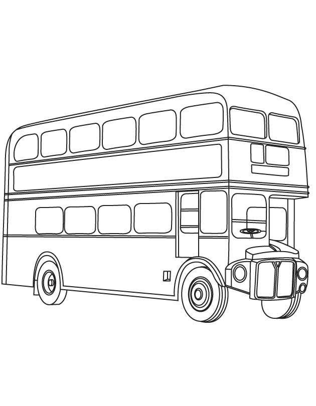 Line Drawing Bus : Dessins de coloriage bus enfant à imprimer sur