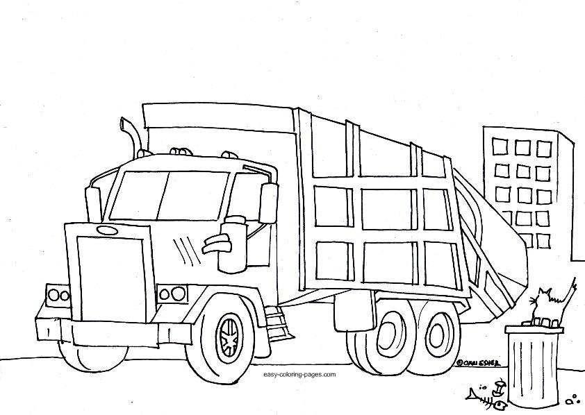 23 dessins de coloriage camion poubelle imprimer sur page 3 - Coloriage camion de poubelle ...