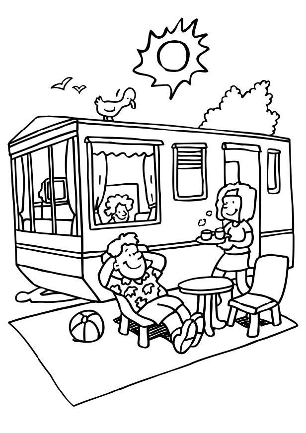 fun dessins à colorier: camping dessins à colorier
