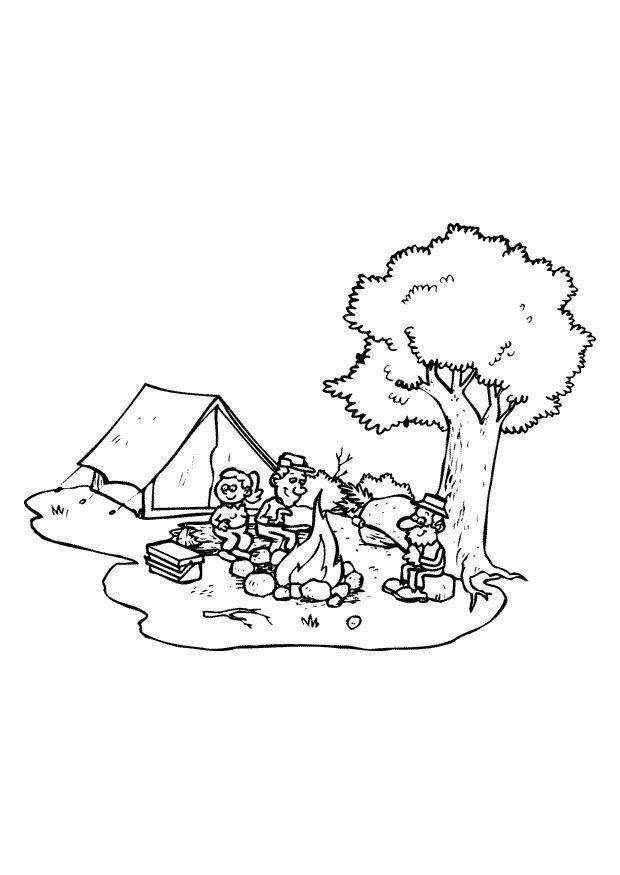 coloriage camping a imprimer