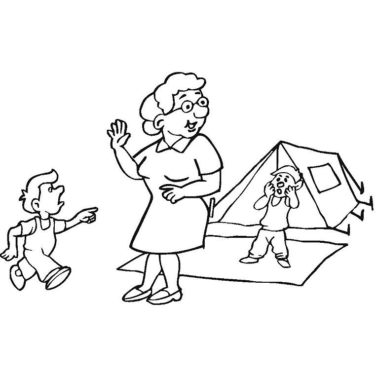 coloriage camping avec les enfants pour imprimer le coloriage camping