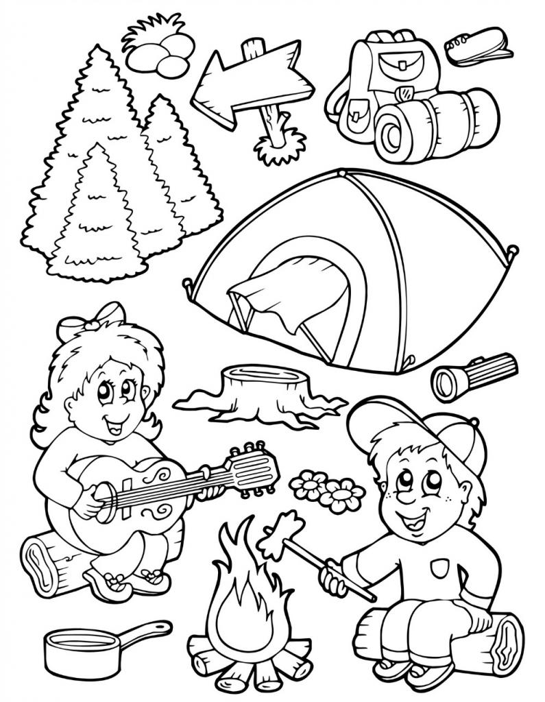 camping dessins à colorier for children
