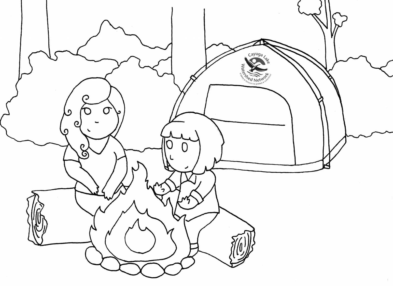 girl scout camping printables coloring pages