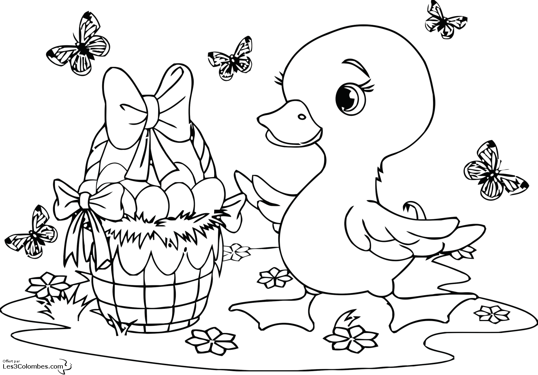 coloriage canard de paques