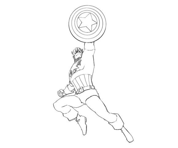 dessins à colorier captain america : superhero captain america coloriage