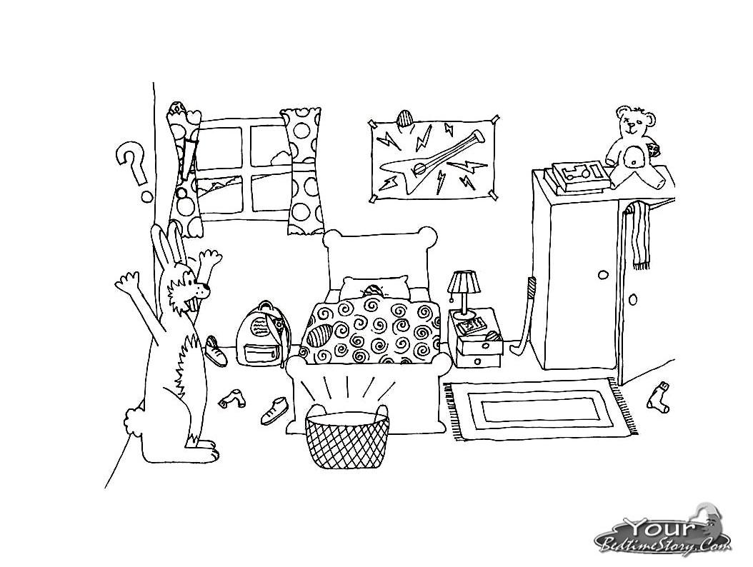 38 dessins de coloriage chambre imprimer sur laguerche. Black Bedroom Furniture Sets. Home Design Ideas