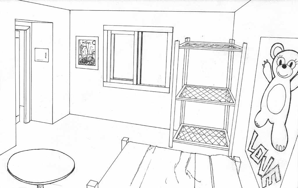 Dessin Chambre 3d : Dessins de coloriage chambre à imprimer sur laguerche
