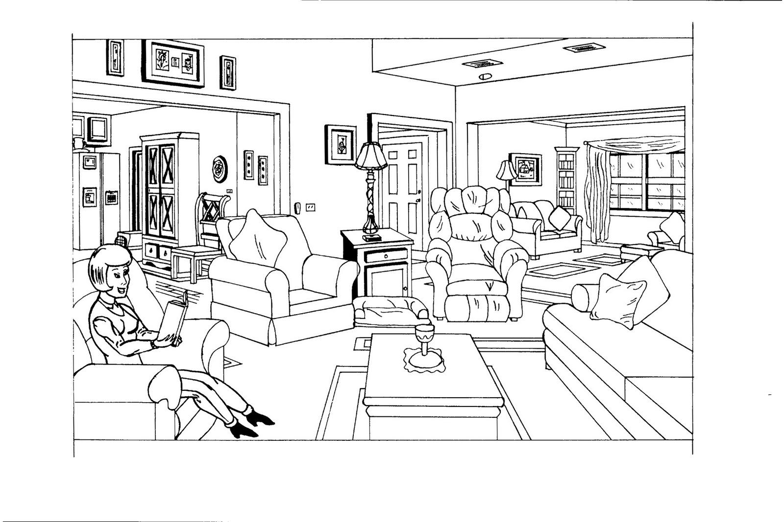 38 dessins de coloriage chambre imprimer sur page 5 for Dessin chambre perspective