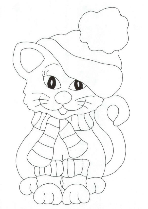 Dessin de chat a colorier
