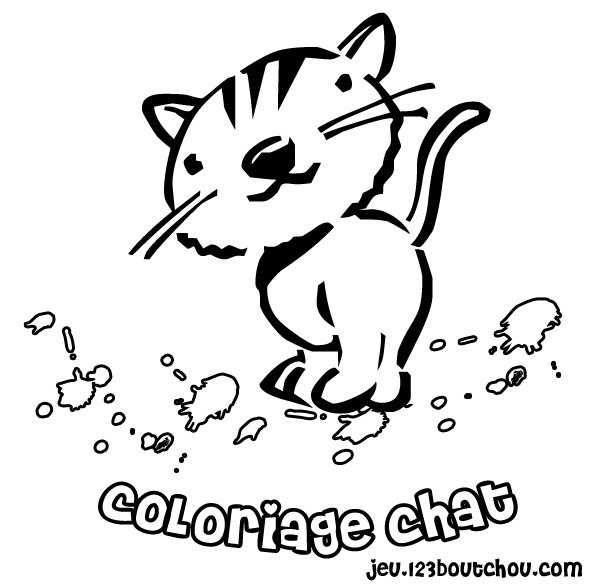 Image de chat a colorier