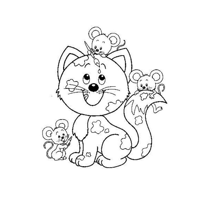 Dessin de chat a colorier