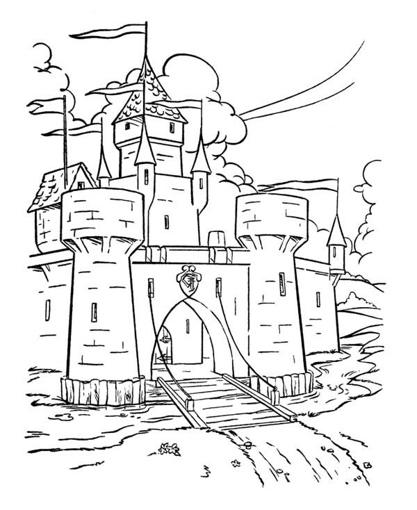 Castle knights coloring pages for Dragon and castle coloring pages