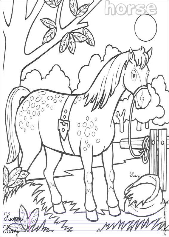 Dessin de cheval gratuit à imprimer et colorier