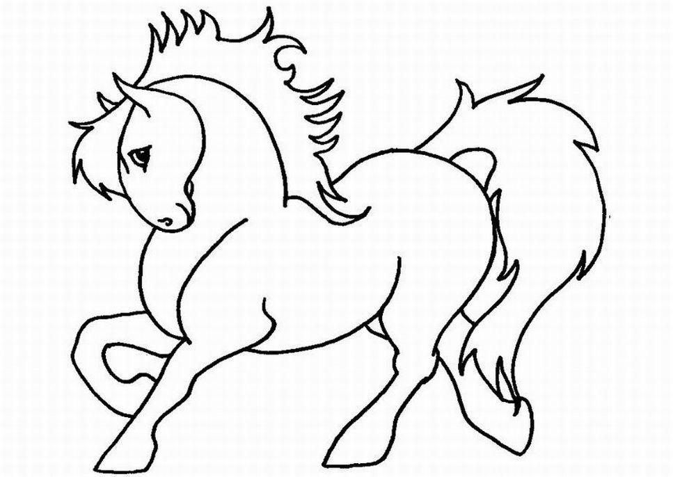 Dessin de cheval a colorier