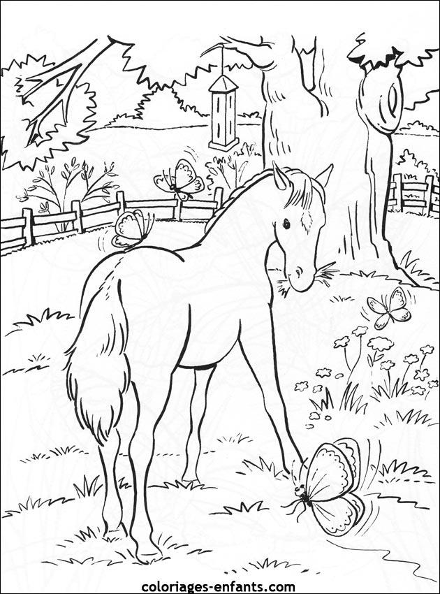 Image de cheval a imprimer et colorier