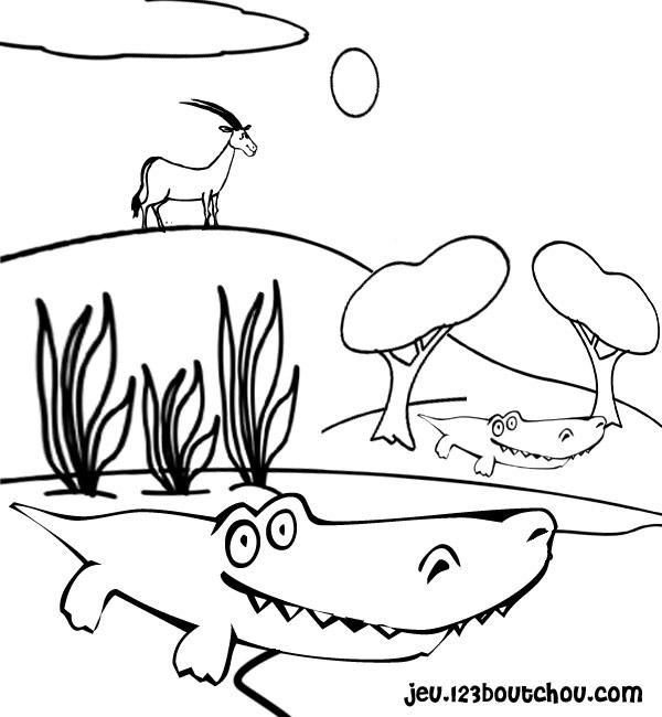 Coloriage de crocodile gratuit a imprimer et colorier