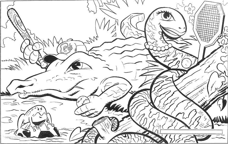 Activité de coloriage crocodile à colorier
