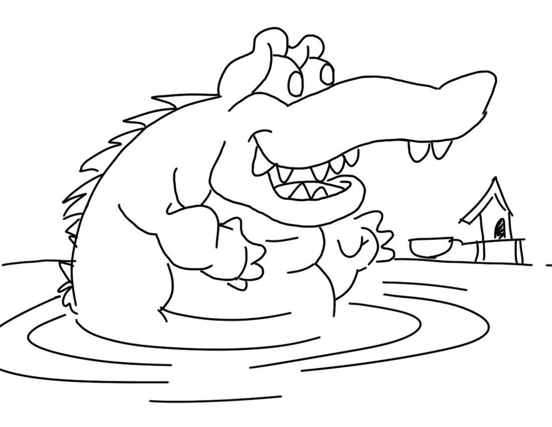 Coloriage gratuit de crocodile a imprimer