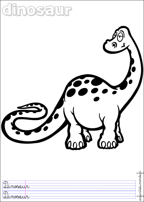 Image de dinosaure a colorier