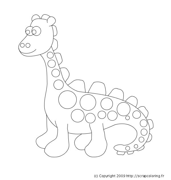 Dessin gratuit de dinosaure a colorier