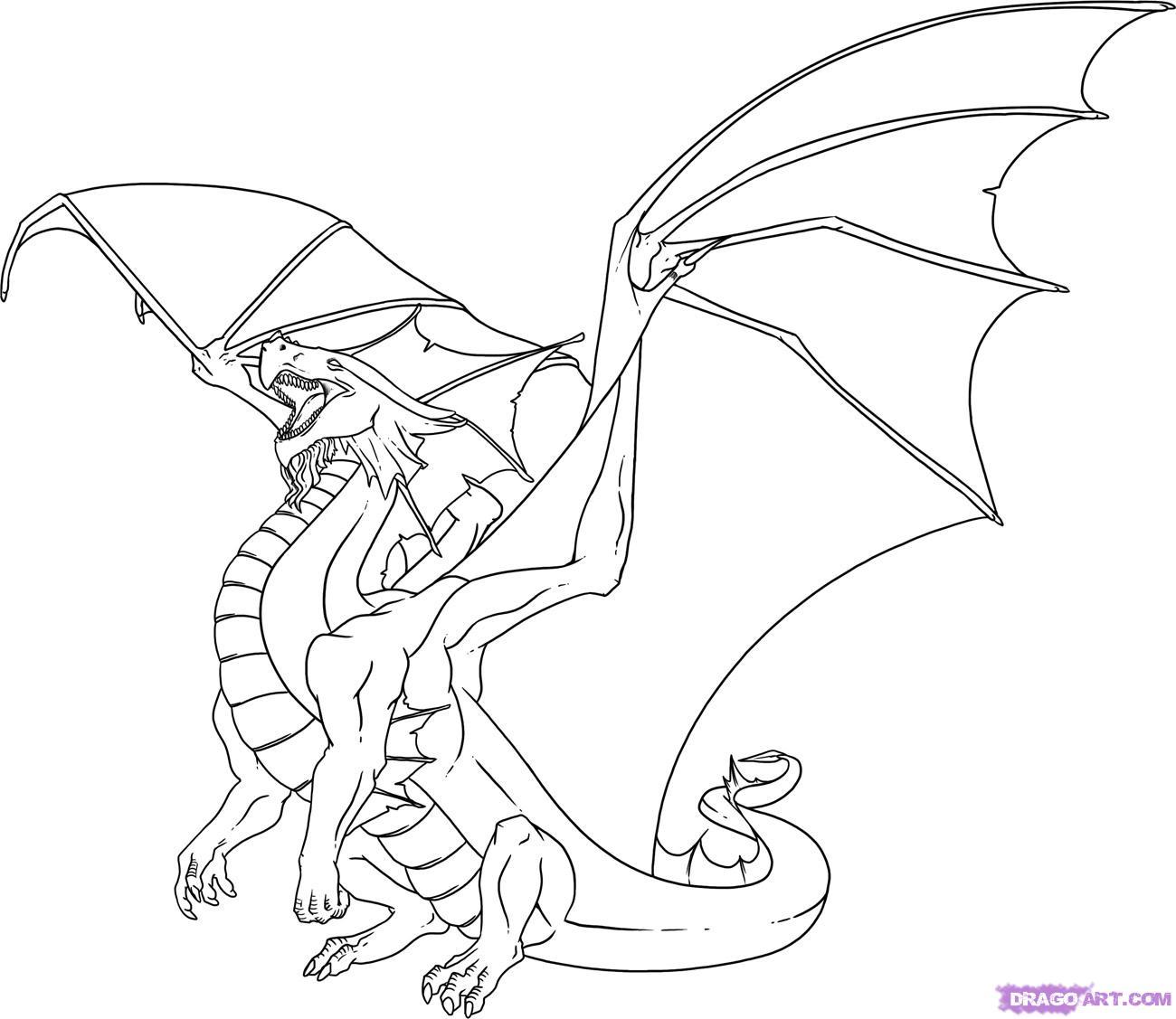 Coloriage de dragon gratuit  imprimer et colorier