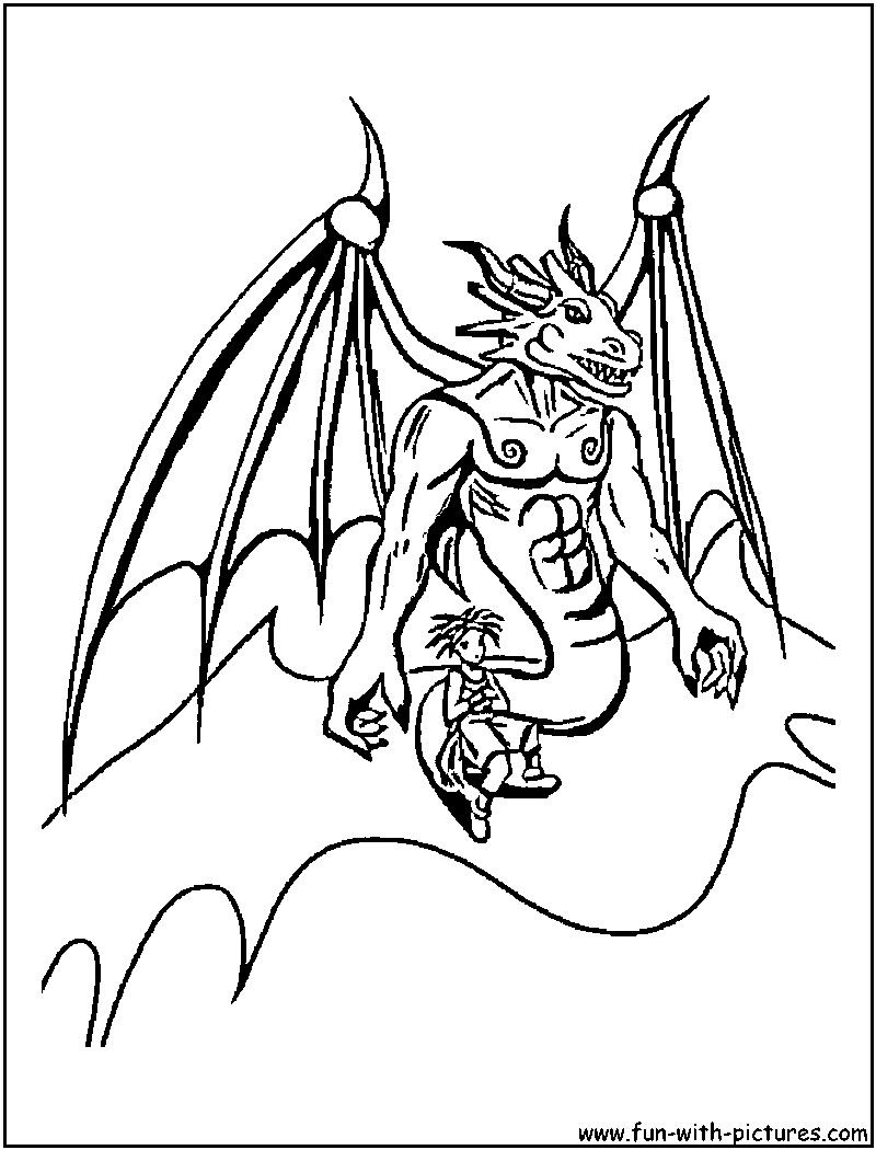 Dessin gratuit de dragon a colorier
