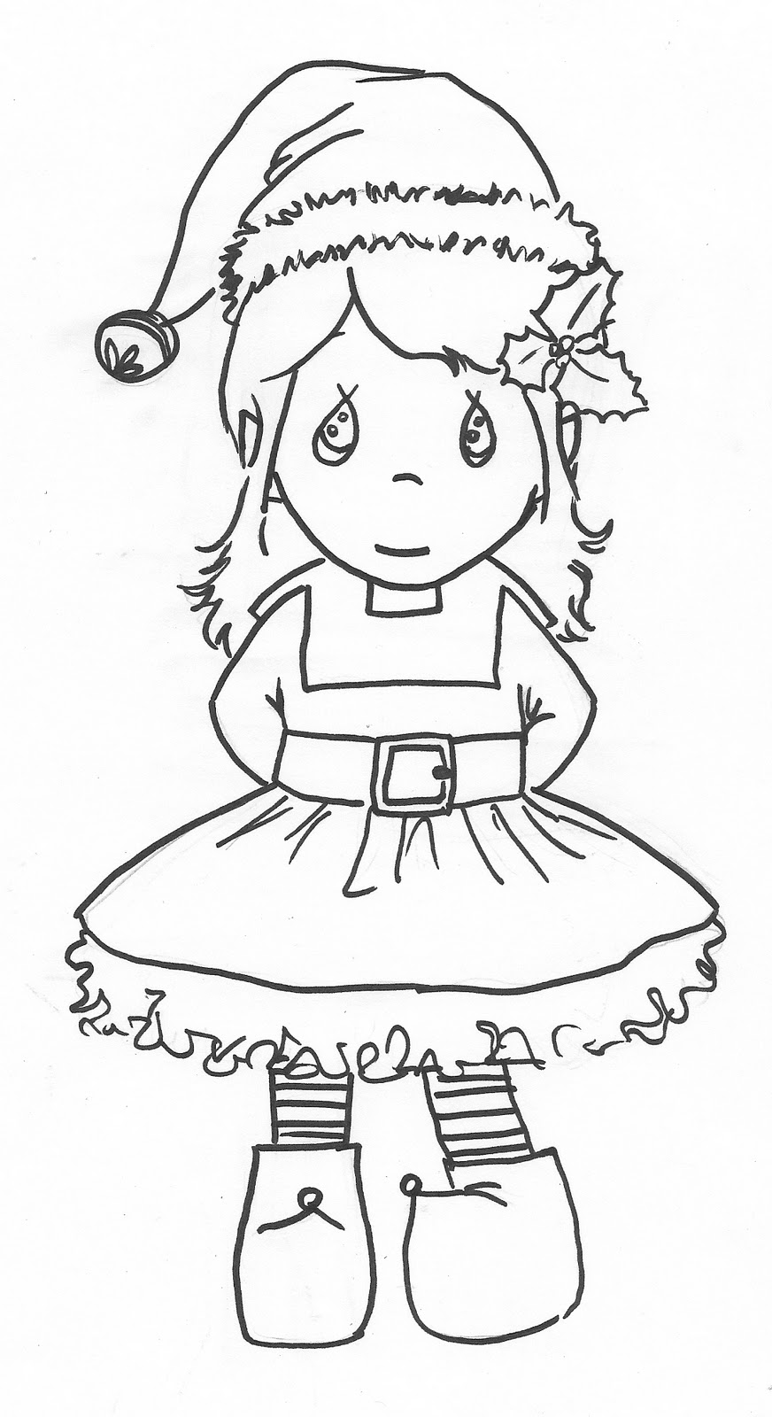 Girl christmas elves coloring page - a-k-b.info